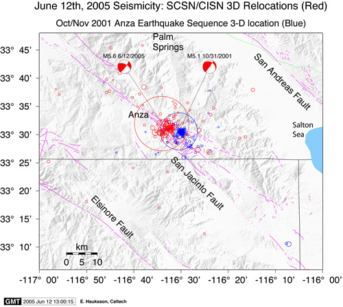 6122005 Anza Earthquake Map of background seismicity