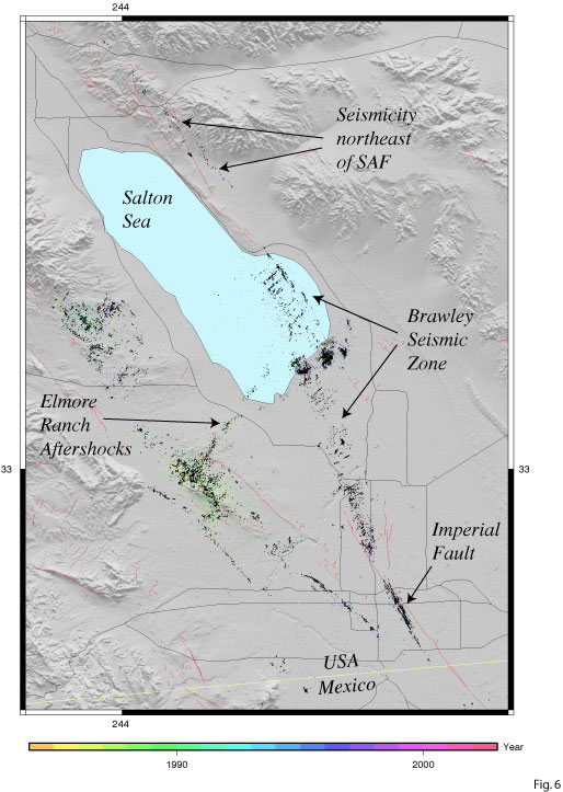 Brawley California Map.Cisn 2005 Swarm Near Obsidian Butte Ca
